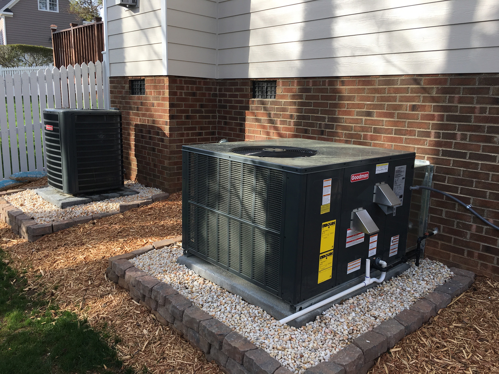 Goodman heating and air conditioning installation; both systems, Holly Springs, NC
